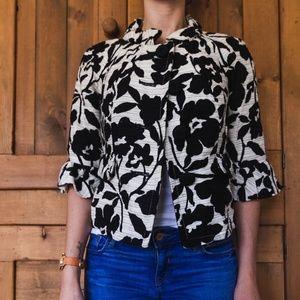 Jackets & Blazers - NWOT Black/White Cotton 3/4 Sleeve Blazer